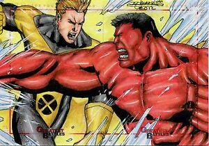 Marvel Greatest Battles Panel Sketch Card By Mark Marvida Red Hulk & ?