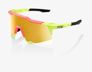 100% Speedcraft Matte Washed Out Neon Pink Sunglasses, Flash Gold Mirror Lens