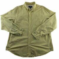 American Eagle Men's XL Button Down Long Sleeve Shirt Yellow Striped Blue