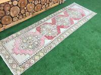 2'11''x9'4'' Vintage Turkish Rug Runner,Oushak Runner Rug,Ushak Carpet Runner