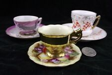 3 MINIATURE TEA CUP AND SAUCER COLLECTION ORCHARD FRUIT HAND PAINTED