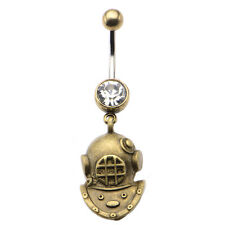 "Belly Navel Ring with Antique Brass Diver Helmet Dangle Charm 14g-7/16""(11mm)"