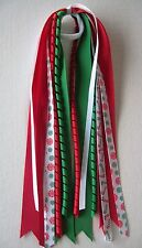 """Girl CHRISTMAS hair tie""""~attached to a cotton ponytail~ hand sew~"""