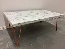 Industrial Reclaimed Timber Scaffold Board Coffee Table On Copper Hairpin Legs