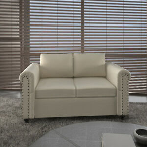 Modern Design Loveseat Fabric Sofa Bed Living Room With Classic Wooden Leg