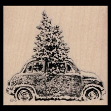 CHRISTMAS TREE IN CAR Rubber Stamp Holiday Stamp CHRISTMAS CAR IN SNOW New