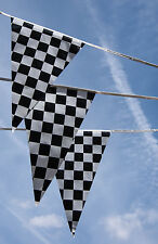 Black and White Checkered Race Flag Bunting 10 metres 20 flags F1