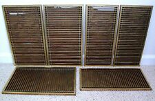 "6 Antique Chinese Gold Painted Slatted Wood Panels with Floral Fabric  (16.55"")"