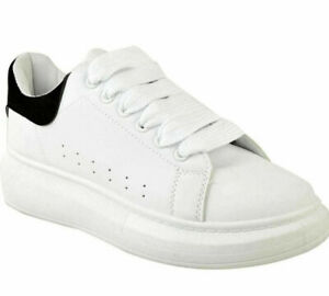New Womens Oversized Chunky Sneakers Trainers White Suede Ladies Platform Sole