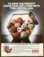 1985 Dunkin' Donuts Christmas PRINT AD Coventry Canister Filled w Munchkins