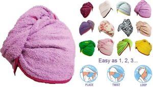 100% Pure Cotton Hair Wrap Head Towel Turbie Turban Twist Drying Button 500 GM.