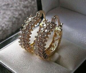 GENUINE 9ct Gold Hoop Earrings gf, White Topaz Hoops, ALMOST SOLD OUT! ref 23