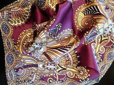 "New 14"" 100% silk  pocket square, deep purple designer"