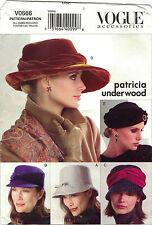 Vogue 0666 V0666 Patricia Underwood Hat 5 Variations Pattern All Sizes Uncut