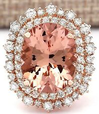 11.24CTW NATURAL MORGANITE AND DIAMOND RING IN 14K ROSE GOLD