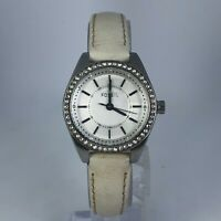 Fossil Womens BQ1449 Quartz Analog Silver Wristwatch Leather Strap Band White