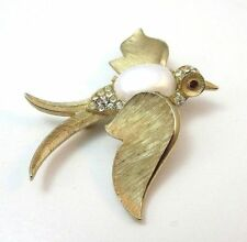 VINTAGE TRIFARI SWALLOW BIRD PIN W/ WHITE CABOCHON BELLY & RHINESTONES *