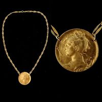 Vintage 1920s French Made Goddess  Raw Brass Necklace