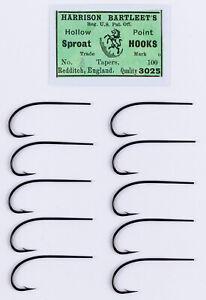Antique Harrison Bartleet Blind Eye Salmon Fly Tying Hooks - #2 Sproat
