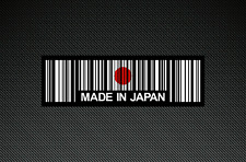 2 x MADE IN JAPAN BAR CODE Stickers/Decals with a Black Background - EURO - DUB