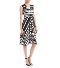 NWT CALVIN KLEIN BLACK WHITE STRIPED FAUX WRAP BELTED DRESS SIZE 14 $99
