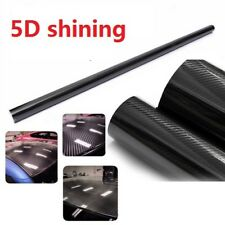 "5D Ultra Shiny Gloss Glossy  Carbon Fiber Vinyl Wrap Sticker Decal Black 24""x60"""