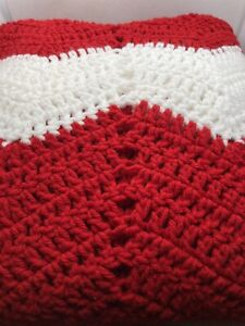 Hand crocheted red and white blanket