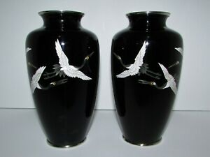Matched Pair of Japanese Black Cloisonne Vases with Cranes 920