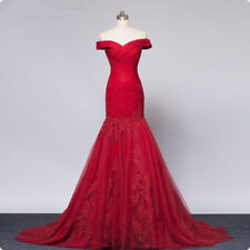 Burgundy Mermaid Evening Dress Off shoulder Long Formal Prom Party Wedding Gowns