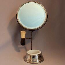 Antique Vintage Apollo Beveled SHAVING MIRROR STAND Milk Glass Soap Bowl Brush