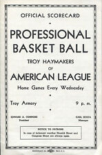 1938-39 ABL Basketball Troy Haymakers vs New York Jewels program pre-NBA
