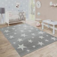 Small Large Rug Grey Stars Pattern Carpet Mat Kids Teens Bedroom Mats Low Pile