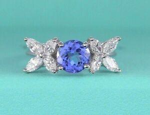 $14200 Tiffany & Co 2.40ct Victoria Platinum Tanzanite Marquise Diamond Ring 4.5