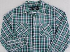 JONATHAN MARTIN White Green Blue Tartan Plaid L/S Button Shirt Men's Medium