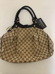 Gucci GG Sukey Shoulder Handbag Black Leather Trim Authenticated