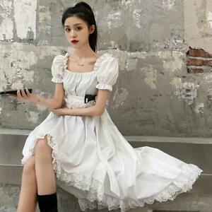 Lolita Dress Kawaii Goth Women Girl Ruffle Short Sleeve Cute Pleated Retro Dress