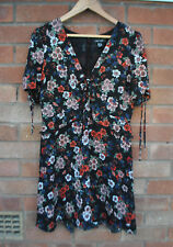Ladies New Look Floral Black Skater Dress V Neck Tea Floaty Ruched Bust 14 UK