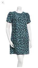 MARC JACOBS BLUE LEOPARD SILK DRESS SIZE 6 2015 Resort