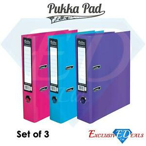 Set of 3 Pukka A4 Lever Arch Files Pink, Blue & Purple For School/Work/Office