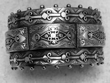 Antique Wide Victorian Solid Silver Hinged Cuff Bracelet Bangle Birmingham 1893
