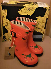 Joules Kids Wellies Uk Kids Size 1 Grizzly Bear Red Design