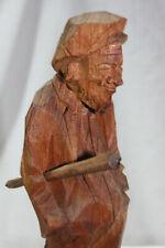 Vintage Quebec Carved Wood Figure Folk Art PQ. Canada Signed