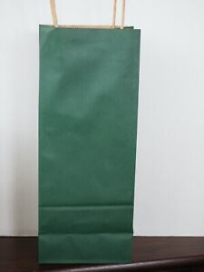 Wine Paper Gift Bags, Kraft Hunter Green with Handles, Pack of 12
