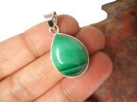 Teardrop  Green  MALACHITE  Sterling  Silver  925  Gemstone  PENDANT