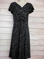 M&S Per Una Black Grey Cross Over Front Dress Size 10R Jersey Knit Work Business