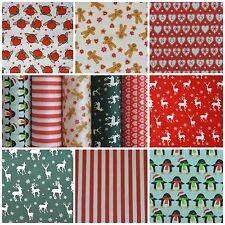 *SALE* Christmas Poly Cotton: Fabric Reindeer Snowman Stripe Gingerbread  *SALE*