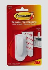 3M Command 1 Spring Reusable Clip & 2 Adhesive Strips Papers DAMAGE FREE #17005