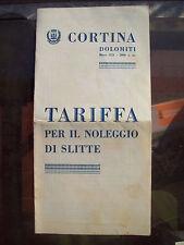 1931 CORTINA D´AMPEZZO PIEGHEVOLE PUBBLICITARIO NOLEGGIO E TARIFFA SLITTE