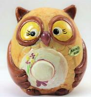 Vintage Ceramic Enesco Owl With Hat Piggy Bank Savings Bank Never Used Foil Tags