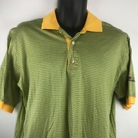 JEFF ROSE Striped Polo FedEx Kinko's SZ M Italy Green Yellow 100% COTTON